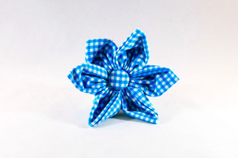 Preppy Aqua Blue Gingham Girl Dog Flower Bow Tie
