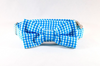 Preppy Aqua Blue Gingham Dog Bow Tie Collar