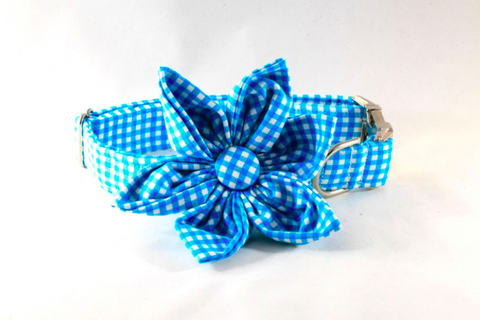 Preppy Aqua Blue Gingham Girl Dog Flower Bow Tie Collar