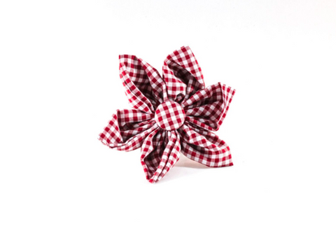 Garnet Gingham Gamecocks Girl Dog Flower Bow Tie