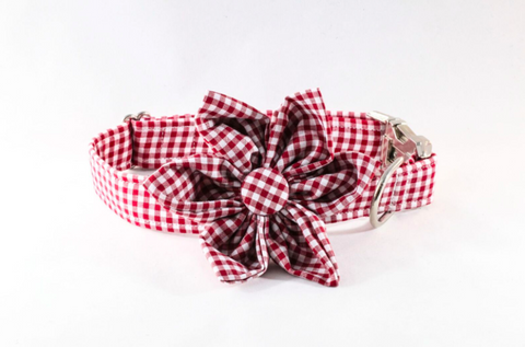 Garnet Gingham Girl Dog Flower Bow Tie Collar