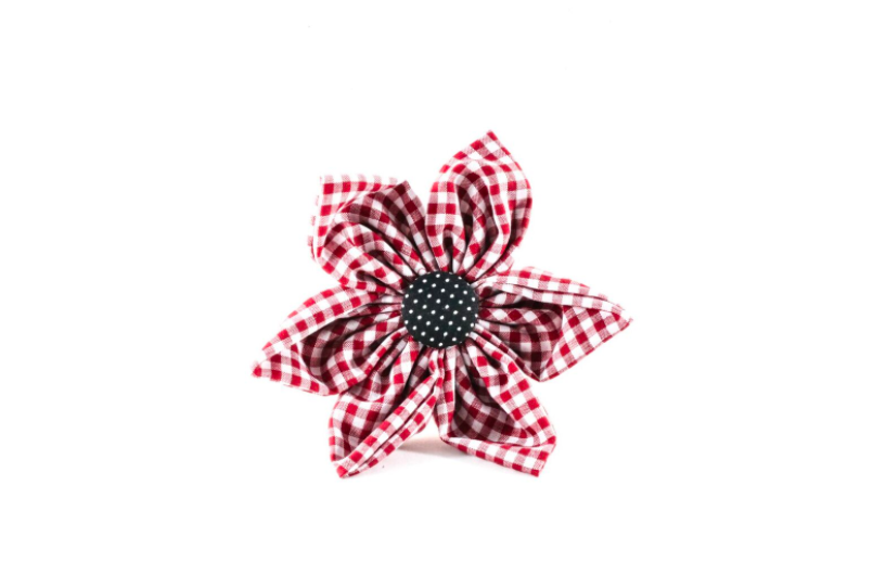 Garnet and Black Gingham Gamecocks Girl Dog Flower Bow Tie