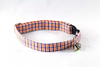 Preppy Navy and Orange Auburn University Gingham Kitty Cat Bow Tie Collar