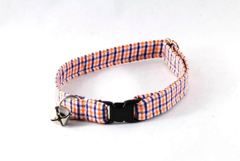 Preppy Navy and Orange Auburn University Gingham Kitty Cat Collar