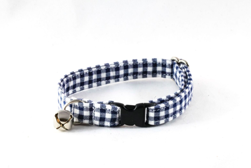 Preppy Navy Blue Seersucker Gingham Kitty Cat Collar