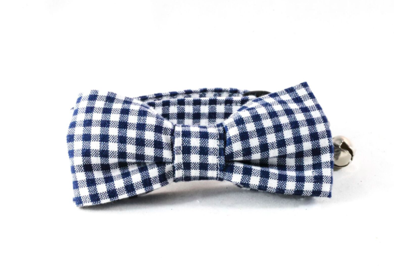 Preppy Navy Blue Seersucker Gingham Bow Tie Kitty Cat Collar