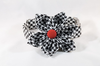 Classic Red Black and White Houndstooth Girl Dog Flower Bow Tie Collar