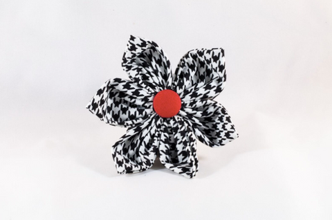 Classic Red Black and White Houndstooth Girl Dog Flower Bow Tie