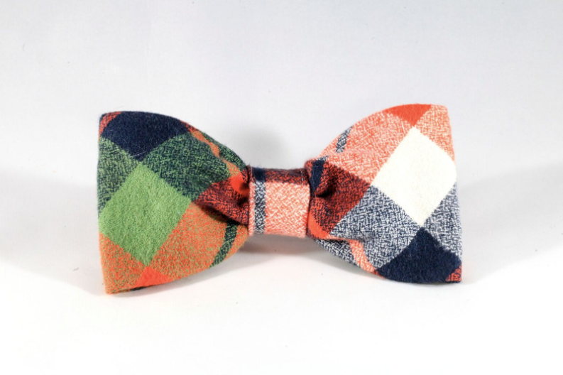 Fall Harvest Plaid Dog Bow Tie