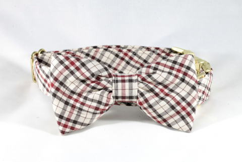 The Dapper Gent Classic Plaid Dog Bow Tie Collar