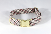 The Dapper Gent Classic Plaid Dog Collar, Tan and Maroon