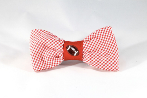 Preppy Red Gingham NC State Football Dog Bow Tie, North Carolina State University