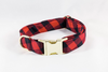 Buffalo Check Plaid Girl Dog Flower Bow Tie Collar