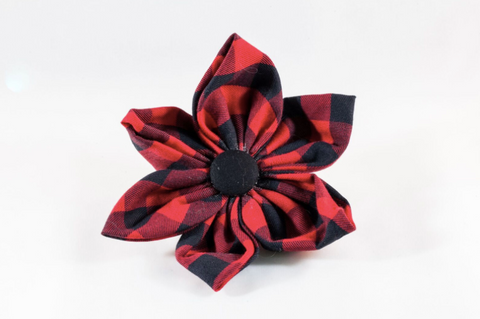 Buffalo Check Plaid Girl Dog Flower Bow Tie