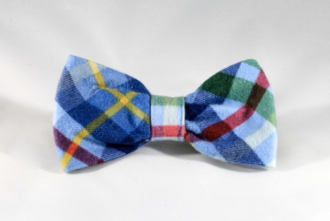 Classic Blue and Green Flannel Plaid Dog Bow Tie