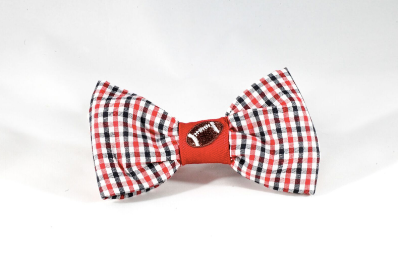 Preppy Black and Red Gingham Georgia Bulldogs Football Dog Bow Tie