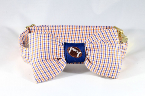 Preppy Navy and Orange Gingham Auburn Tigers Football Dog Bow Tie Collar