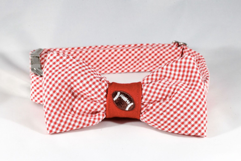 Preppy Red Gingham NC State Football Bow Tie Dog Collar, North Carolina State