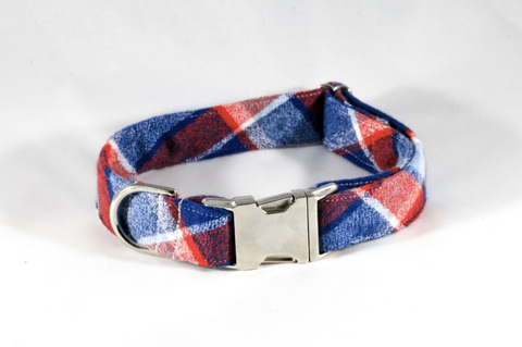 Red White and Blue Americana Plaid Flannel Dog Collar
