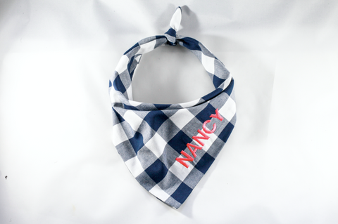 Navy Gingham Plaid Monogrammed Dog Bandana