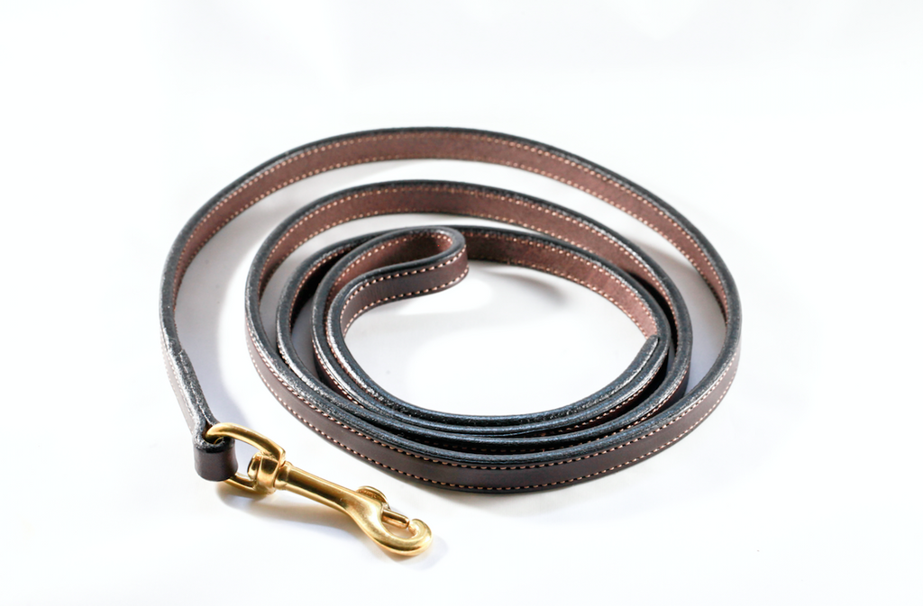 5 Foot Havana Brown Leather Dog Leash