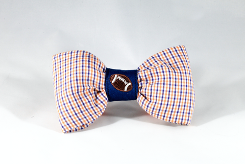 Preppy Navy and Orange Gingham Auburn Tigers Football Dog Bow Tie