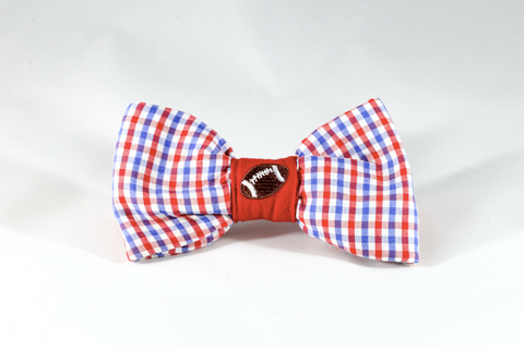 Preppy Red White and Blue Gingham Ole Miss Rebels Football Dog Bow Tie