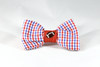 Preppy Red White and Blue Gingham Ole Miss Rebels Football Dog Bow Tie Collar