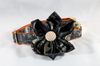 The Sporting Pup Camo and Orange Seersucker Girl Dog Flower Bow Tie Collar