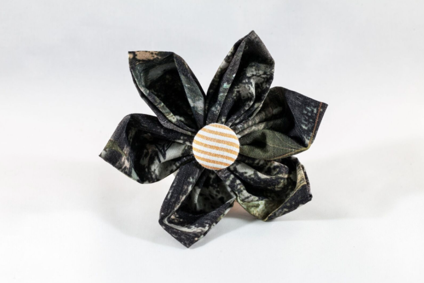 The Sporting Pup Camo and Orange Seersucker Girl Dog Flower Bow Tie