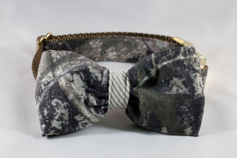 The Sporting Pup Camo and Khaki Seersucker Bow Tie Dog Collar