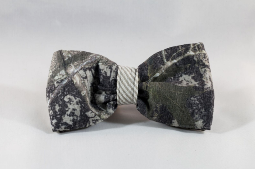 The Sporting Pup Camo and Khaki Seersucker Dog Bow Tie