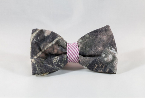 The Sporting Pup Camo and Pink Seersucker Dog Bow Tie