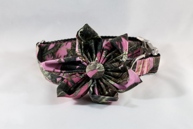 The Sporting Pup Pink Camo Girl Dog Flower Bow Tie Collar--Black