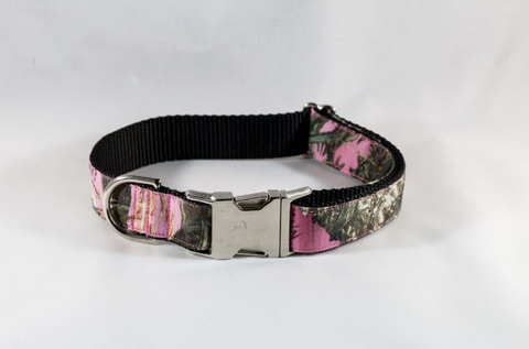 The Sporting Pup Pink Girl Dog Camo Collar--Black