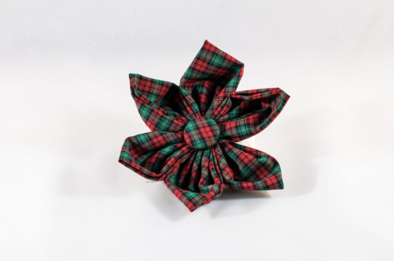 Classic Red and Green Christmas Plaid Girl Dog Flower Bow Tie