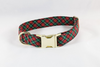 Classic Red and Green Christmas Plaid Girl Dog Flower Bow Tie Collar