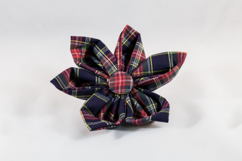 Classic Black and Red Tartan Plaid Girl Dog Flower Bow Tie