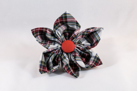Tartan Plaid Girl Dog Flower Bow Tie