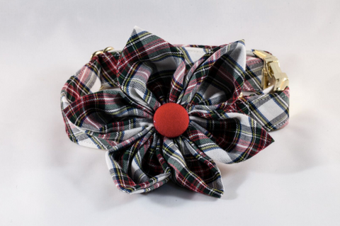 Tartan Plaid Girl Dog Flower Bow Tie Collar