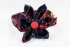 Navy and Red Old South Plaid Girl Dog Flower Bow Tie Collar