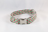 Green and Red Christmas Houndstooth Girl Dog Flower Bow Tie Collar