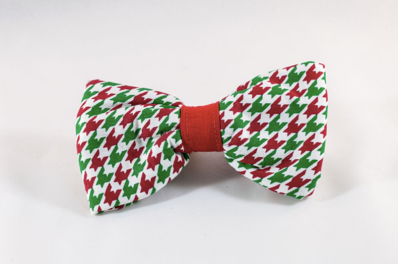 Green and Red Christmas Houndstooth Dog Bow Tie