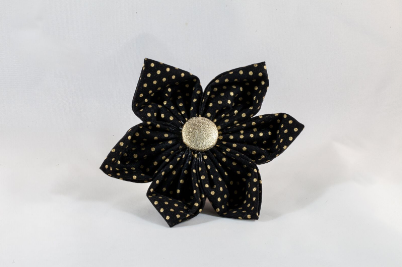 Black and Gold Polka Dot Girl Dog Flower Bow Tie