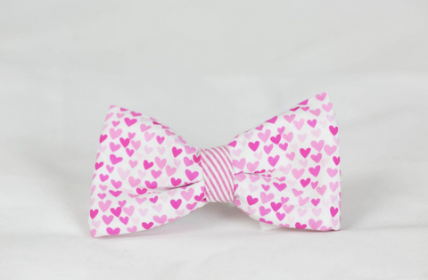 Preppy Pink Hearts and Seersucker Valentine's Day Dog Bow Tie