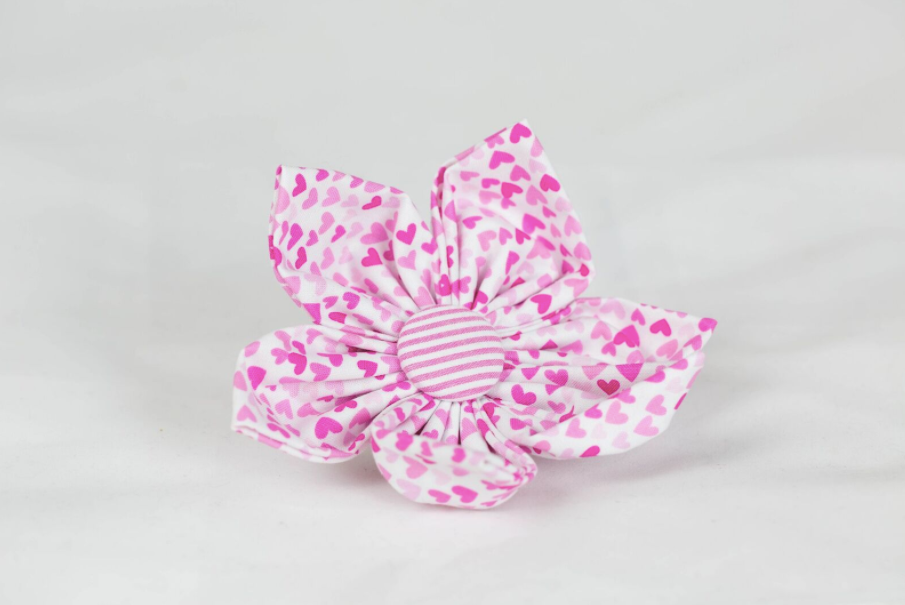 Preppy Pink Hearts and Seersucker Valentine's Day Girl Dog Flower Bow Tie