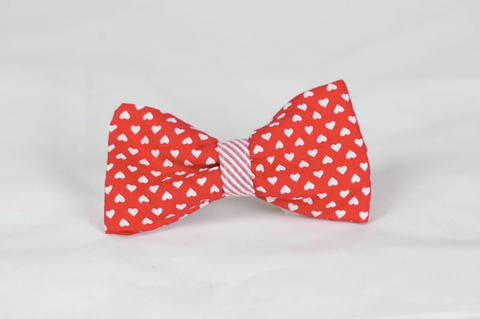Be My Valentine Red Hearts and Seersucker Dog Bow Tie