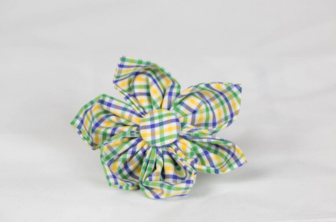 Mardi Gras Gingham Girl Dog Flower Bow Tie