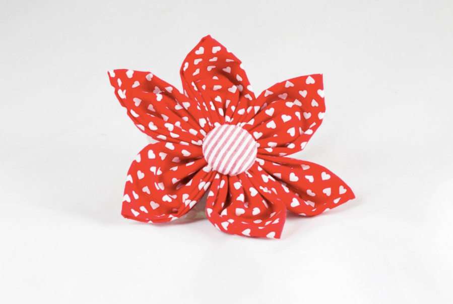 Be My Valentine Red Hearts and Seersucker Girl Dog Flower Bow Tie