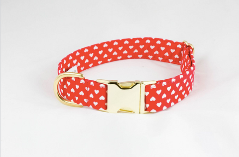Be My Valentine Red Hearts Dog Bow Tie Collar